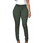 Fashion High Waist  Broken Holes Army Green Cotton Pants