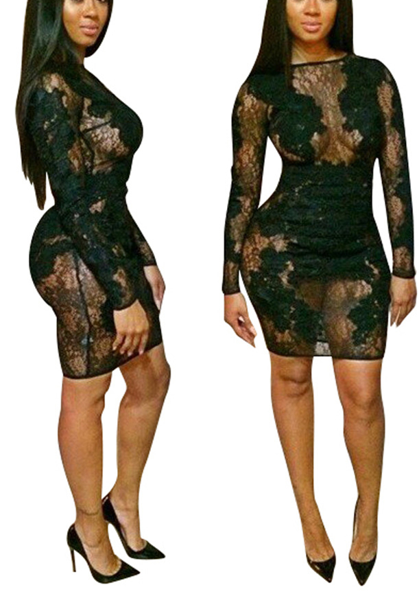 Sexy O Neck Long Sleeves Mesh Patchwork Floral Embroidered Black Sheath Mini Dress