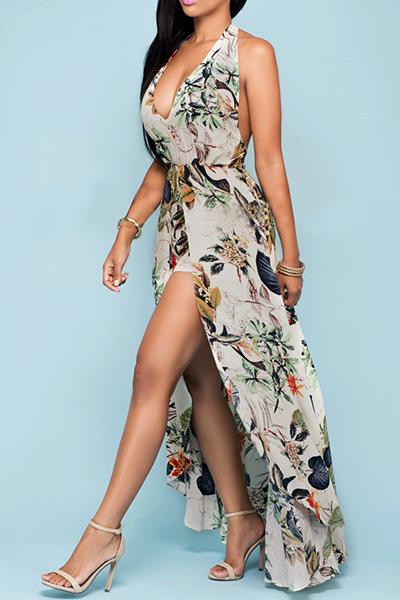 Charming Halter V Neck Backless Floral Print Apricot Chiffon Beach Ankle Length Dress