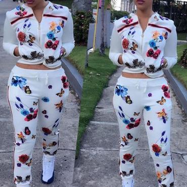 Casual Mandarin Collar Long Sleeves Printed Healthy Fabric Two-piece Pants Set