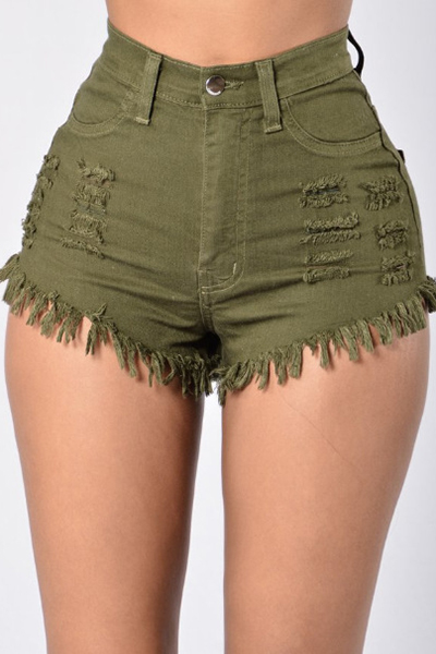 Stylish High Waist Broken Holes Army Green Denim Shorts