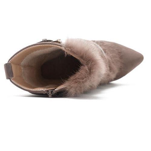 De moda de punta de punta de diseño de piel de tacón alto súper tacón de color caqui suede pantalones de becerro