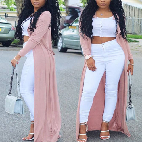 Trendy Long Sleeves Pink Nylon Long Trench Coats