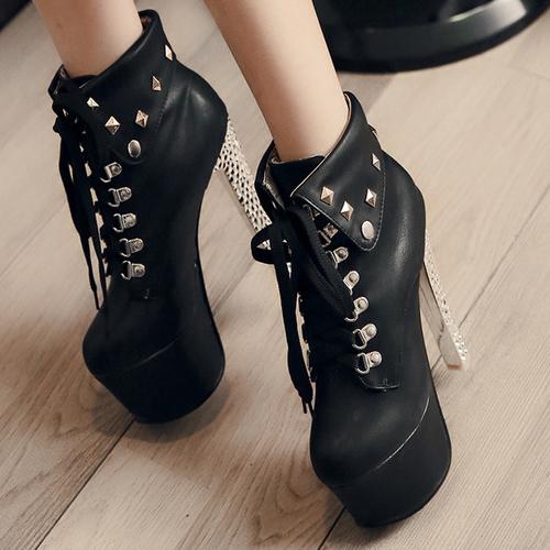 Trendy Round Toe Rivet Decorative Chunky Super High Heel Black PU Short Martin Boots