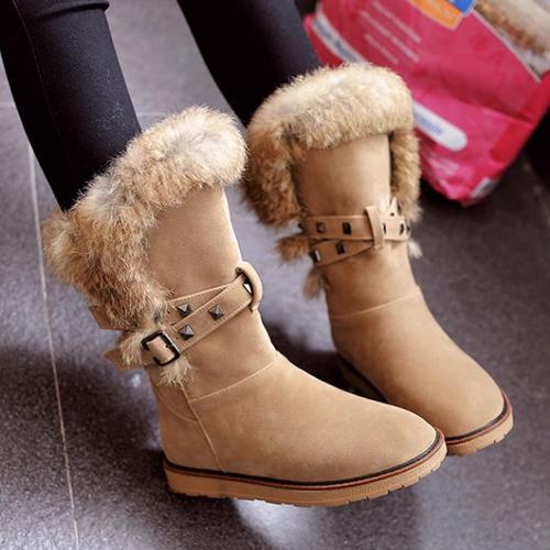 Moda de punta redonda diseño de piel plana bajo talón Brown PU botas cortas de nieve