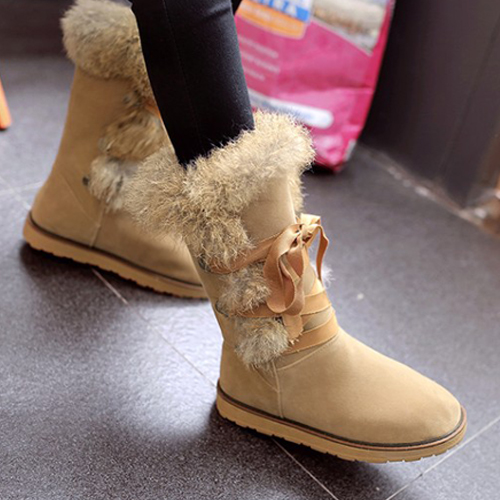 Winter Round Toe Lace-up Flat Low Heel Apricot PU Snow Boots