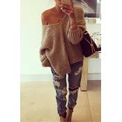 Fashion V Neck Long Sleeves Khaki Woolen Regular P