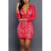 Sexy Deep V Neck Three Quarter Sleeves Red Lace Mini Dress