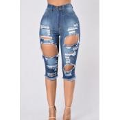 Stylish High Waist Broken Holes Dark Blue Denim Shorts