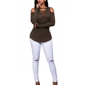 Sexy Deep V Neck Long Sleeves Hollow-out Army Green Qmilch Blouses