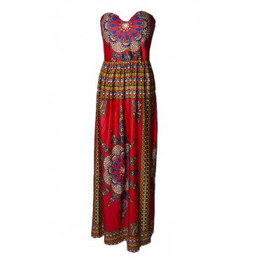 Bohemian V Neck Off The Shoulder Sleeveless Totem Printed Red Qmilch Ball Gown Ankle Length Dress