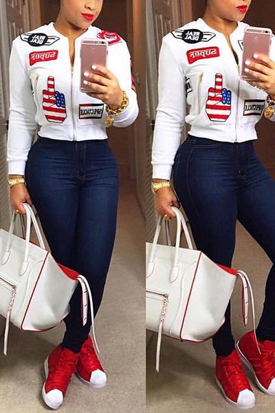 elegante gola mandarim mangas compridas design da colagem coat de algodão branco