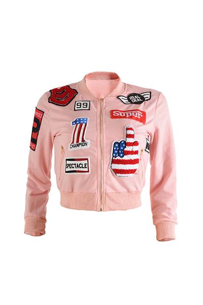 Stylish Mandarin Collar Long Sleeves Collage Design Pink Cotton Coat