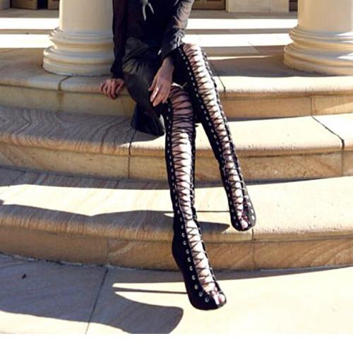 moda rodada peep toe lace-up oca-out preto de camurça stiletto calcanhar super alta sobre o joelho botas