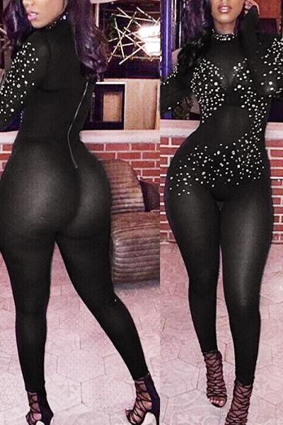 Sexy Turtleneck Long Sleeves Rhinestone Decorative Black Gauze One-piece Jumpsuits