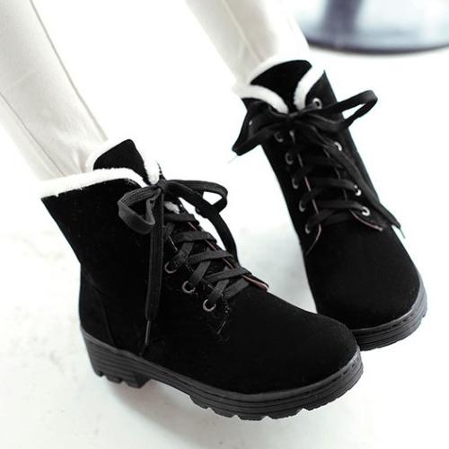 Encaje de punta redonda con estilo-up Wedge Medias Tacón Negro Suede Martin Boots