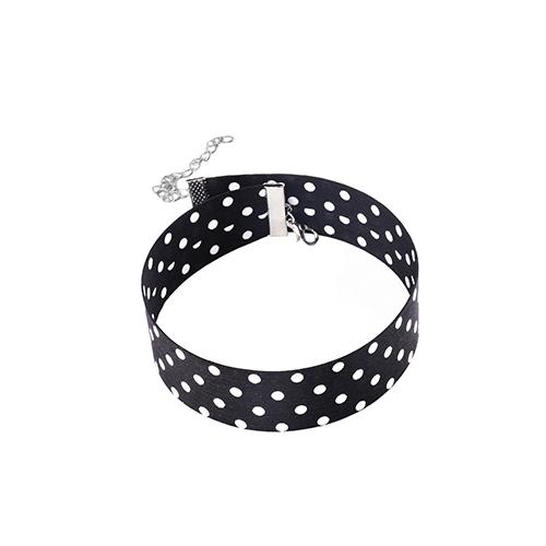 Fashion Dots Printed Black Fabric Choker
