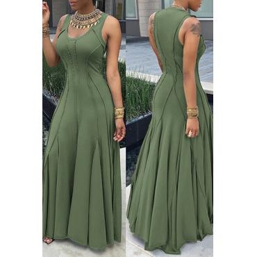 Trendy Round Neck Sleeveless Patchwork Green Cotton Floor length Dress
