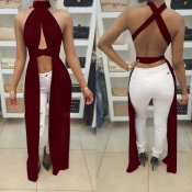 Sexy Round Neck Sleeveless Backless Wine Red Qmilc