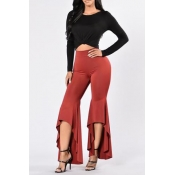 Stylish High Waist Trumpet Shaped Design Red Polyester Boot Pants