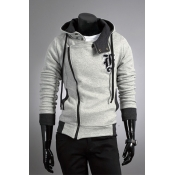 Casual Hooded Collar Long Sleeves Zipper Design Li