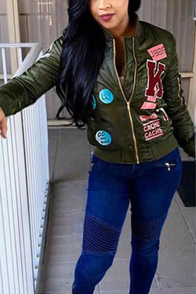 Leisure Round Neck Long Sleeves Collage Design Green Polyester Jacket