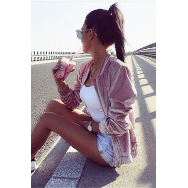 Stylish Round Neck Long Sleeves Zipper Design Pink Velvet Coat