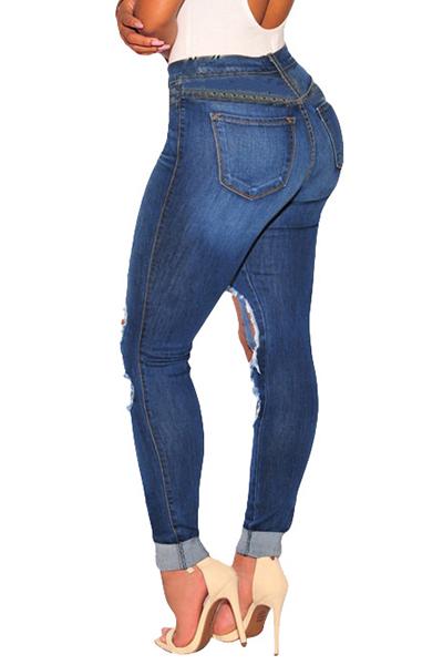 Stylish High Waist Broken Holes Dark Blue Cotton Skinny Pants