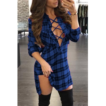Sexy V Neck Long Sleeves Plaids Hollow-out Blue Polyester Mini Dress