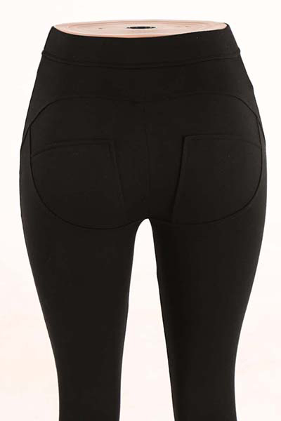 Elegante Mediados de cintura Poliéster Patchwork polainas negro Poliéster