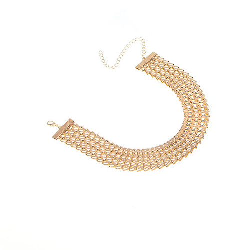 Euramerican V-shaped Gold Metal Necklace