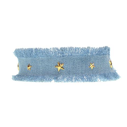 Fashion Five-pointed Star Decorative Light Blue Fabric Choker