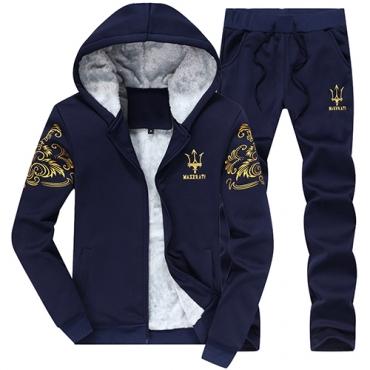 Leisure encapuchado collar mangas largas bordado azul oscuro algodón pantalones de dos piezas conjunto