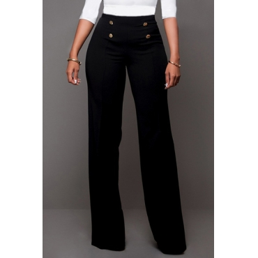 Trendy High Waist Double-breasted Decorative Black Polyester Pants