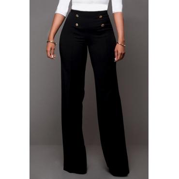 Модные Двубортные Черные Брюки Из Полиэстера С Высокой Талией