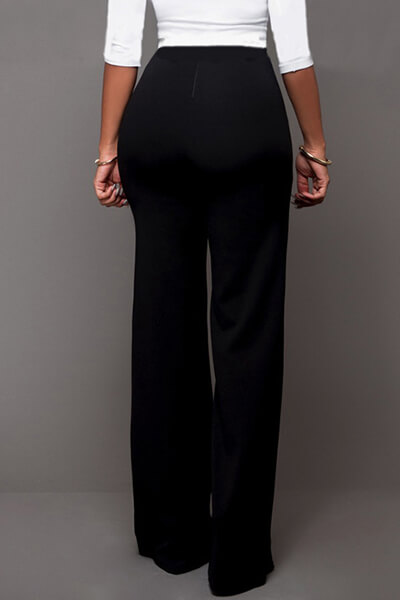 Lovely Trendy High Waist Double-breasted Decorative Black Polyester Pants