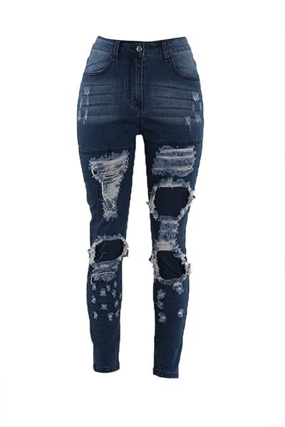 Pantalones de algodón azul