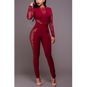 Sexy Round Neck Long Sleeves Patchwork See-Through Wine Red Healthy Fabric One-piece Skinny Jumpsuits