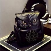 Stylish Owl Shaped Design Black PU Backpacks