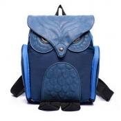 Stylish Owl Shaped Design Blue PU Backpacks