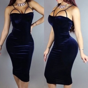 Sexy Boat Neck Spaghetti Strap Sleeveless Hollow-out Purplish Blue Velvet  Sheath Mid Calf Dress