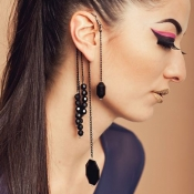 Retro Style Tassel Design Black Acrylic Earring(On