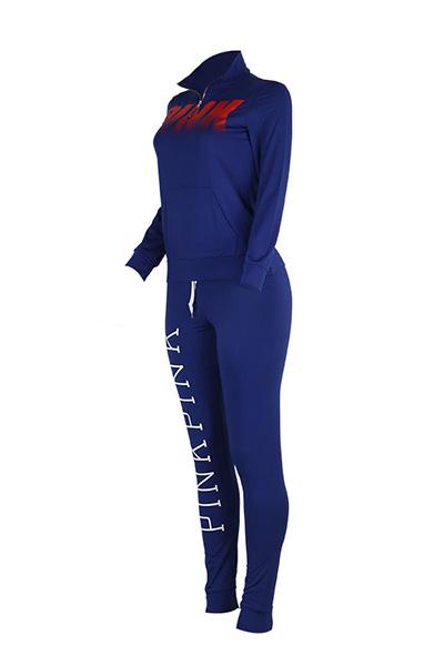 Leisure Turtleneck Long Sleeves Letras impressas Blue Qmilch Two-pedaço Pants fixar