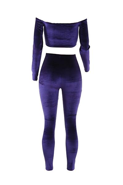Stylish Bateau Neck Long Sleeves Purple Velvet Two-piece Pants Set