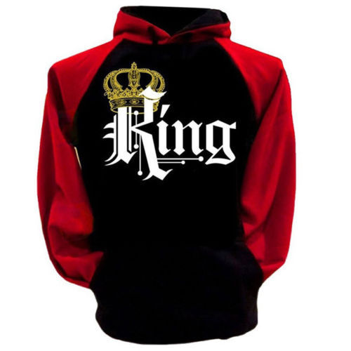Leisure Hooded Collar Long Sleeves Letters Printed Red And Black Combination Polyester Pullover for men