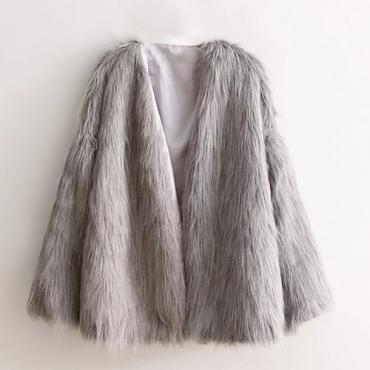 Trendy Round Neck Long Sleeves Grey Faux Fur Short Coat