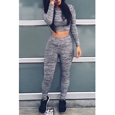 Leisure Round Neck Long Sleeves Grey Qmilch Two-piece Pants Set