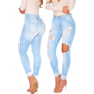 Sexy High Waist Broken Holes Blue Cotton Jeans
