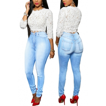 Stylish High Waist Mill White Design Blue Cotton Jeans