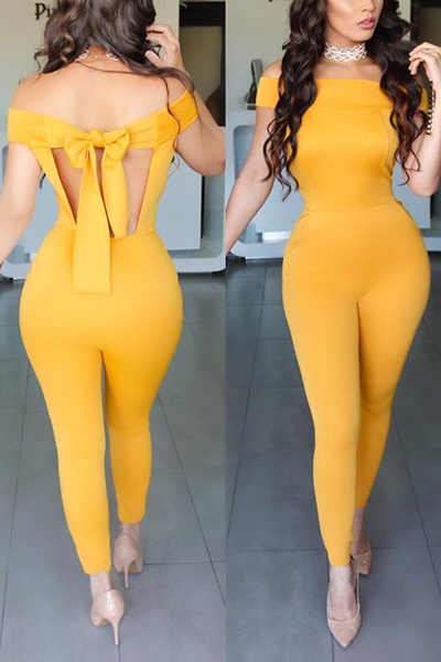Sexy Halter V Neck Short Sleeves Backless Yellow Twilled One-piece Jumpsuits